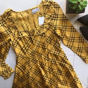 Urban Outfitters Yellow And Black Plaid Dress NWT